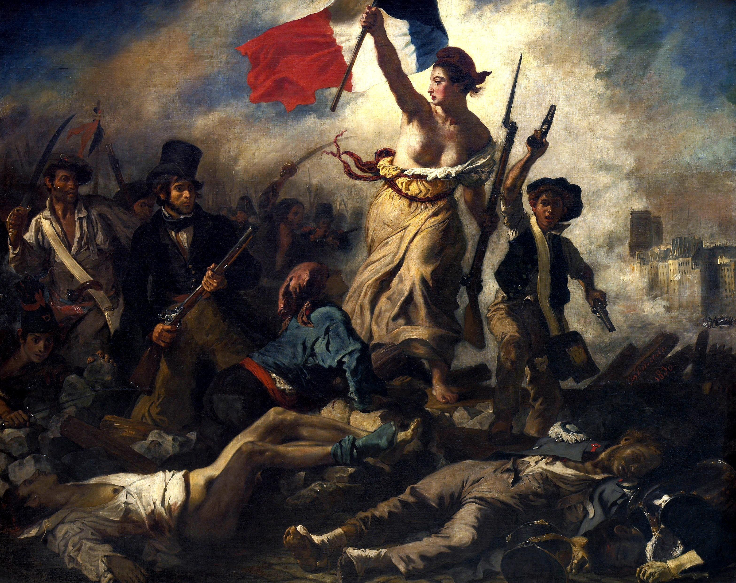 La Libertad Guiando al Pueblo Eugène Delacroix